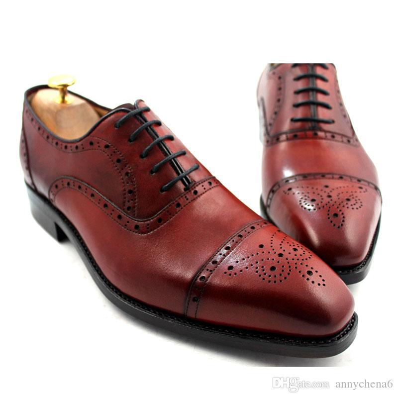 Мужчины платье обувь оксфорды обувь Мужская обувь пользовательские ручной работы обувь из натуральной кожи полный дизайн brogue цвет коричневый HD-N045