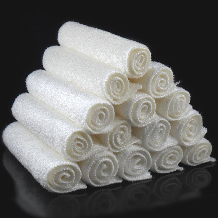 16x18 سنتيمتر 12 قطع أبيض اللون كفاءة عالية مكافحة دهني الخيزران الألياف غسل اليد طبق تنظيف القماش و wipping خرقة منشفة QD6