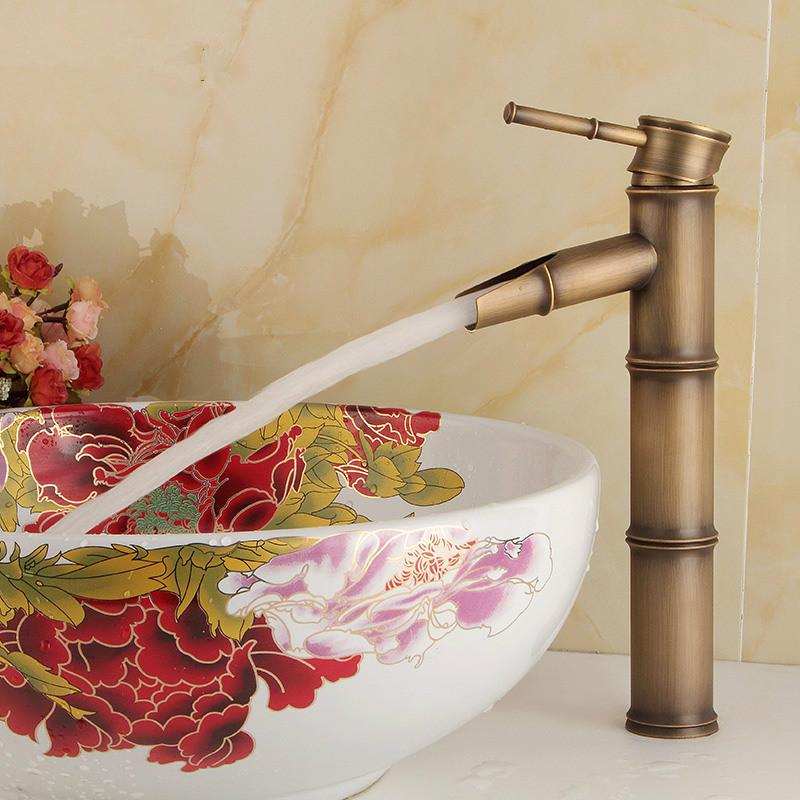 Wholesale and retail free shipping Copper basin faucet Kitchen & bathroom faucet Single hole of cold Bamboo faucet