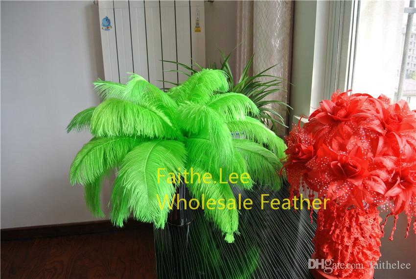 100pcs/lot 14-16inch 35-40cm lime green Ostrich Feathers plumes for wedding centerpiece wedding supplise