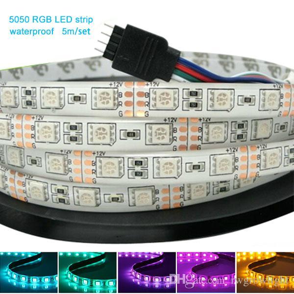 2015 tiras flexibles flexibles vendedoras calientes RGB SMD5050 60Leds por el metro con 24 teledirigidos remotos del IR con la fuente de alimentación 12V 5A
