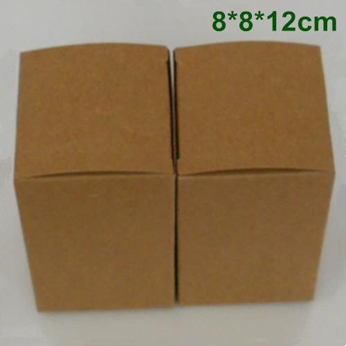 8 * 8 * 12cmクラフト紙の結婚式の好意ギフト包装箱のための包装箱香水エッセンシャルオイル化粧品ボトル菓子茶DIY石鹸包装