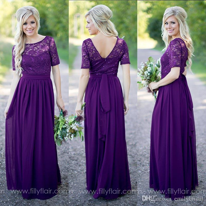 Purple Bridesmaid Dresses Vintage Lace With Short Sleeves Open Back ...