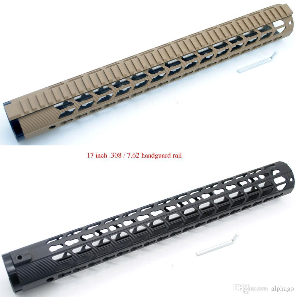 "17"" inch Extra Long LR-308 Ultralight Black/Tan Keymod Free Float Handguard Rail Picatinny Mount System"