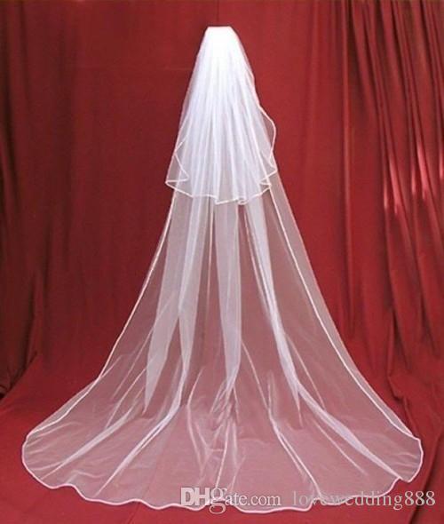 Voile de mariée simple cathédrale longueur mariage avec peigne 2 couche doux Tulle voiles pas cher Accessoires de mariage Voiles de mariée pour mariage