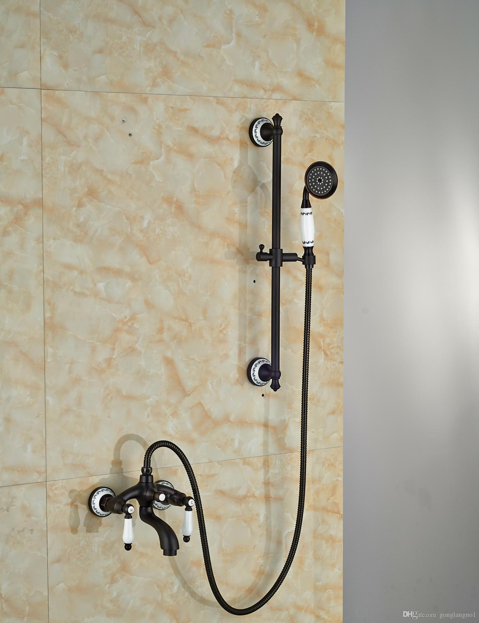 2019 Wholesale And Retail Oil Rubbed Bronze Bathroom Tub Faucet Solid Brass Hand Held Shower Sprayer W Slide Bar Mixer Tap Valve From Gonglangno1