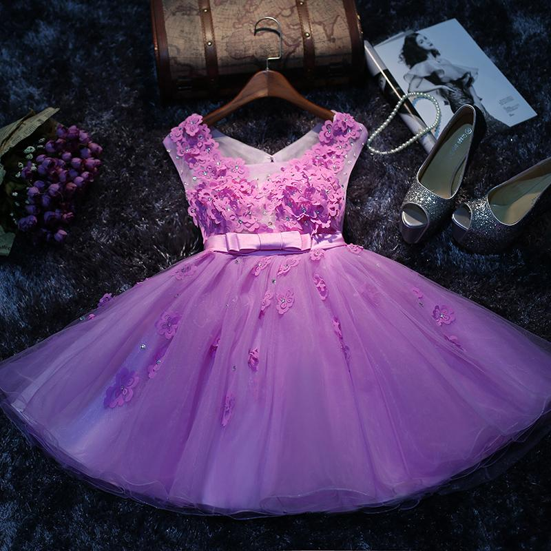 Compre 2016 Nuevos Vestidos De Fiesta Púrpuras Del Verano Falda Sin ...