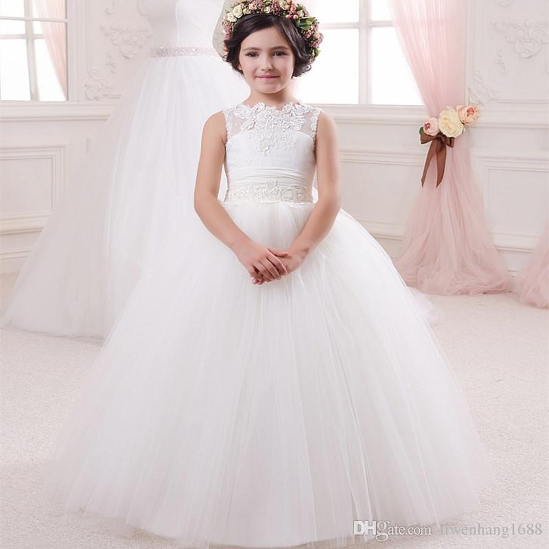 Compre Vestido De La Pequeña Reina De Encaje Blanco Vestidos De Niña De Las Flores Del Banquete De Boda Con Cuentas De La Cintura Vestido De Los Niños