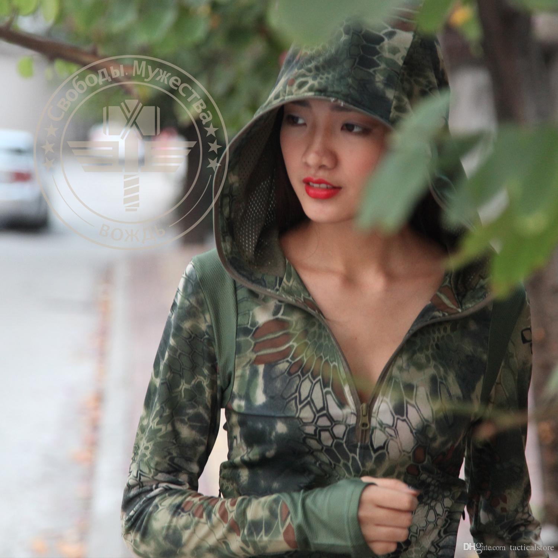 Python camuflaje femenino secado rápido camiseta de manga larga camiseta de serpiente de cascabel del juego Caza Sudaderas de la caza Transpirable de la camiseta de la camiseta para Shoo Qldo