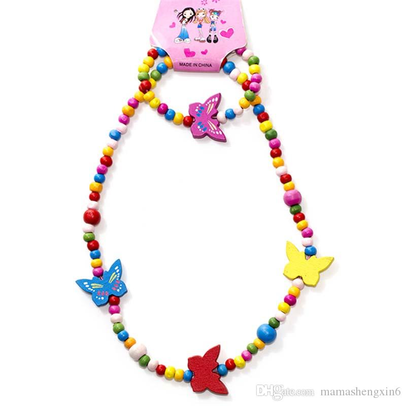New Children' kids accessories colorful beads necklaces princess wooden beads jewelry handmade DIY sweater chain baby bracelets necklace set
