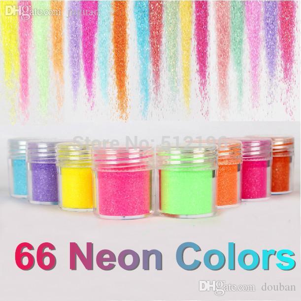 OTS062(24), 66 Neon Colors Metal Shiny Glitter Sequin Powder Nail Deco Art Kit Acrylic Dust Set(2.9*2.5cm)