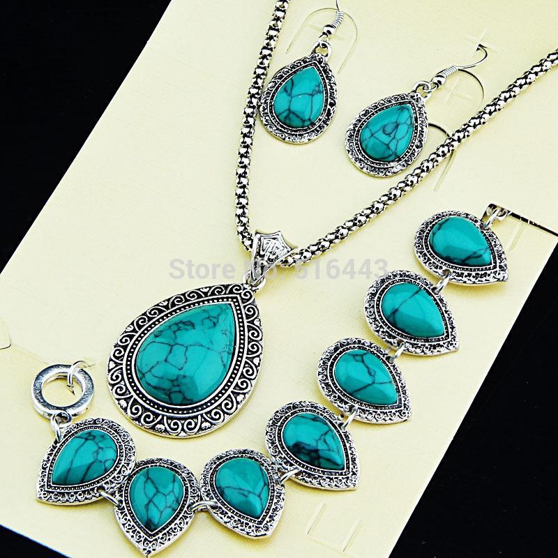 Nowa kobieta wisiorek gorąca sprzedaż antyczne srebro 3 sztuk kropla wody turkusowe kolczyki bransoletka naszyjnik kobiety biżuteria ślubna zestaw A1002