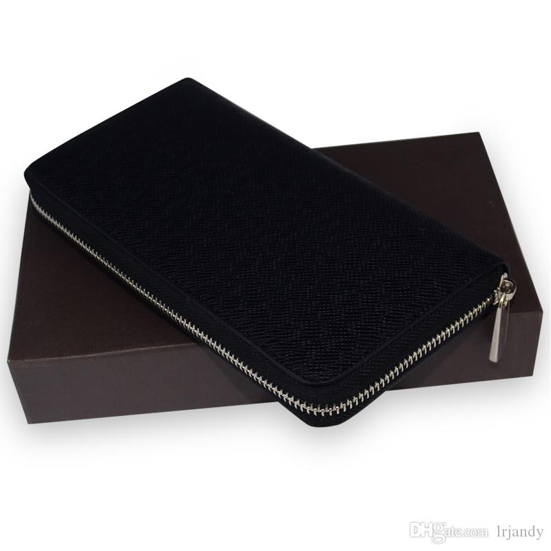 Real leather woman ladies best quality famous brand long single zipper Genuine Leather men wallet Genuine Leather women purse with box card