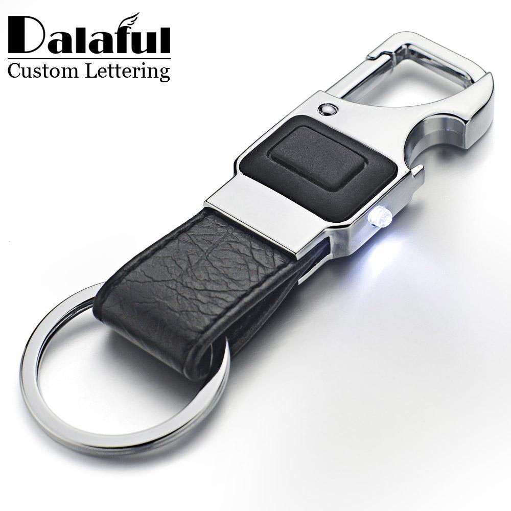 beijia Custom Lettering Keychain LED Lights Lamp Beer Opener Bottle Multifunctional Leather Men Car Key Chain Ring Holder K355