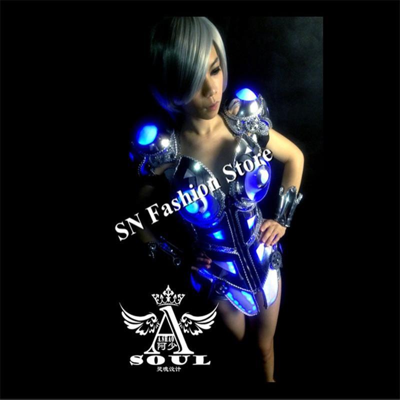DM01 Lady Cosplay Colorido trajes de salão de baile de luz vestidos de dança de pano / Bar sutiã armadura partido palco modelo de carro sexy show veste