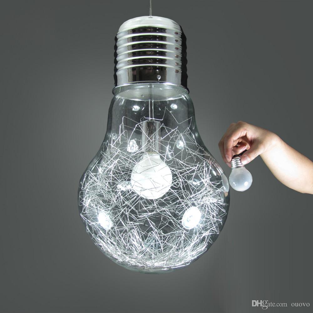 Stylish Big Bulb Dining Room Pendant Lamp New Modern Aluminum Wire Inside Glass ball Bar Counter Pendant Light Fixture Restaurant Lamps