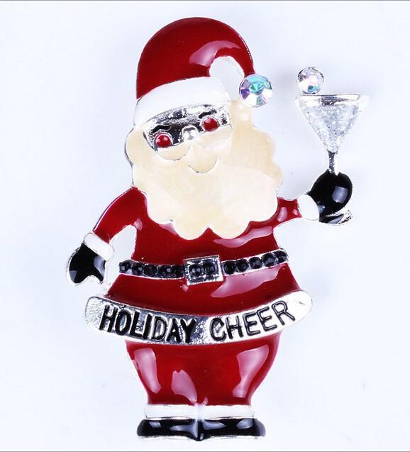 Fashion Holidays Xmas Gift Enamel Christmas Rhinestone Santa Claus Holiday Cheer Pin Brooch Wholesale 12 Pcs