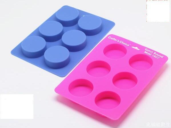 Freies Verschiffen - Heißer Verkauf Silikon 6cube Runde 50 ML Pro Cube griff Seifenform Verstärkt Kuchen Muffin Dekorieren Formen DIY