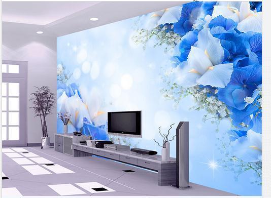 Customize wallpaper non-woven Blue Dream Fashion TV wall flowers 3d mural wallpaper Free shipping4144!!!
