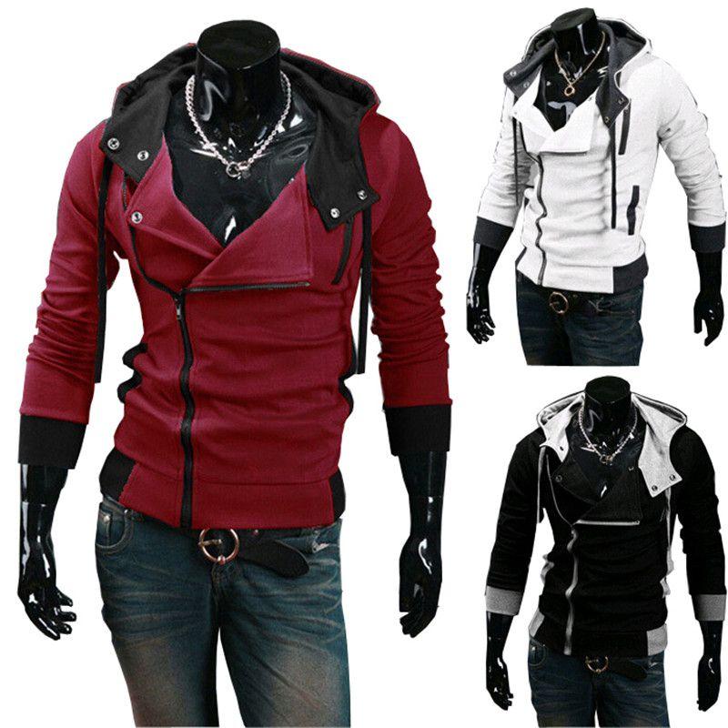 Hot Sale 2015 New Men's Hoodies Diagonal Zipper Design Fashion Casual Patchwork Cotton Blend Sprots Hoodie 7 Colors Plus Size 4XL Cardigans
