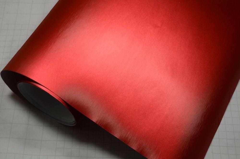China Dream Premium Metallic 1,52x20m rote Farbe gebürstet Matt Chrom Vinyl Film gebürstetem Eis Film für Auto Vinyl Wrap Aufkleber