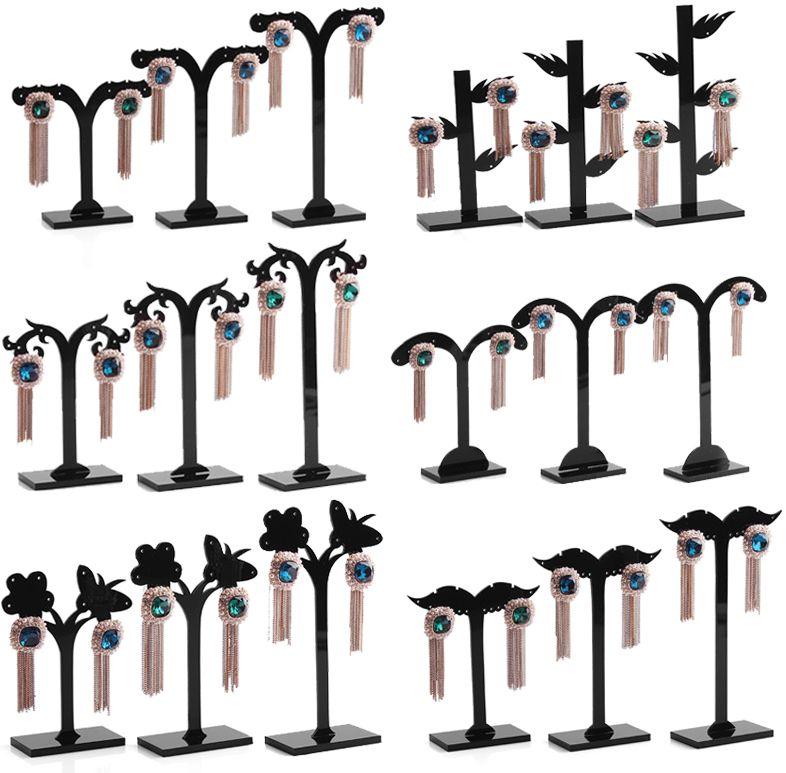 Supporto per espositore da tavolo a forma di albero in orecchino nero acylic