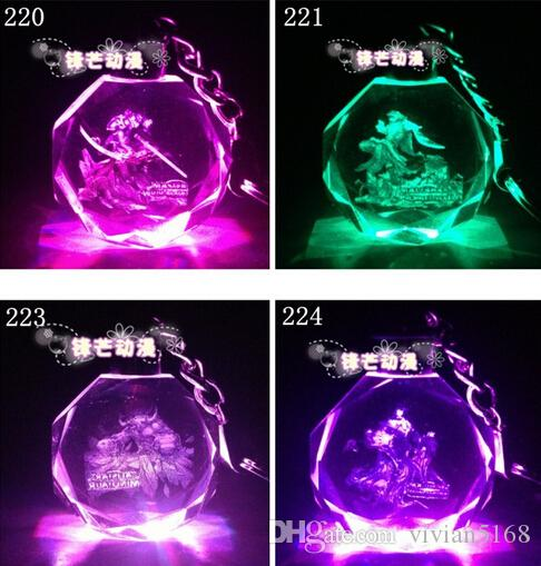 New LOL Key Ring League Of Legends All-Star Crystal Flash LED Light Keychain Customized Cartoon crystal pendant Best Gifts Free Shipping