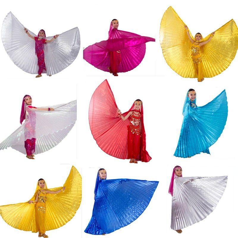 Дети угол Крылья танец живота Крылья египетский танец живота костюм Isis Крылья танцевальная одежда для детей девочек (без палки) 9 цветов