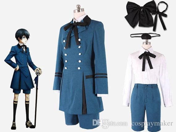 Black Butler Ciel Phantomhive blue uniform Cosplay Costume Sebasti Kuroshitsuji Aristocrat Halloween Costumes