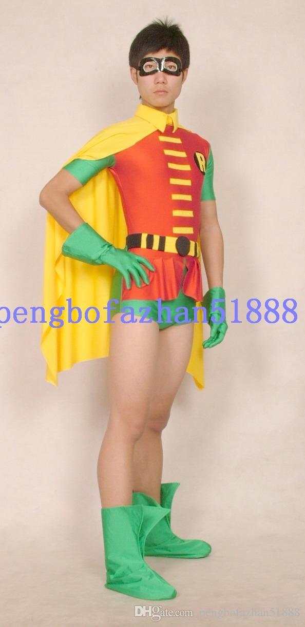 Fantasia Trajes Robin Curto Outfit Nova Vermelho / Verde Lycra Spandex Robin Terno trajes Com Capa Amarela Unisex Super Hero Trajes Outfit P083