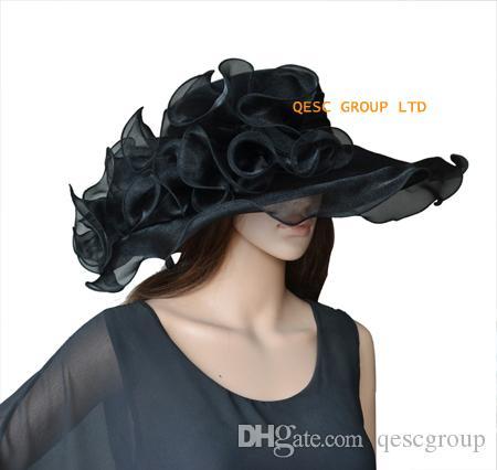 Chapéu De Organza De Cristal preto com Grande Guarnição De Organza para wedding.brim largura 13.5 cm.