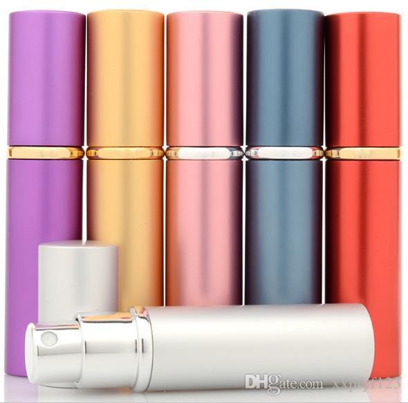 향수 병 5ml 알루미늄 알루마이트 소형 parfum 애프터 셰 이브 분무기 분무기 향수 유리 향기 병 혼합 색상