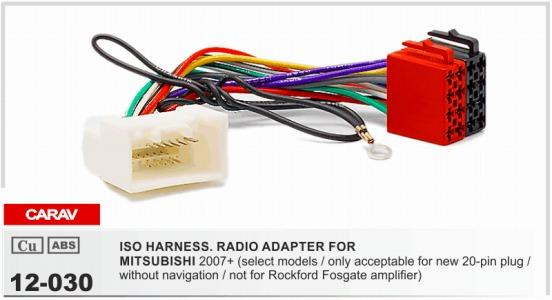 CARAV 12-030 ISO Radio Adapter for Mitsubishi 2007 + Wiring Harness Connector Lead Loom Cable Plug