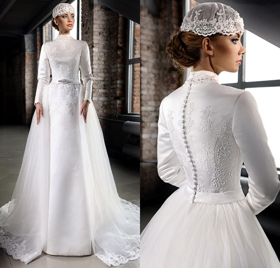 Modest Muslim Wedding Dresses With Overskirts 2016 Exquisite High Neck Lace Applique Arabic Bridal Gowns