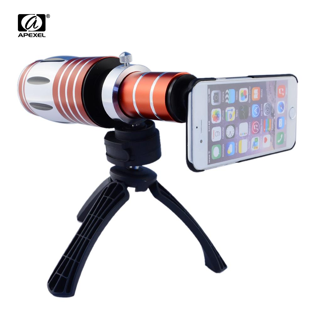 APEXEL Telescopic 50x Zoom Optical Mobile Phone Camera Lenses Telephoto Lens Kit with Tripad Case for iPhone 7 Telescope Lens lens