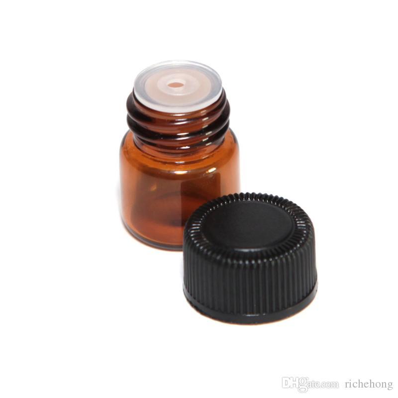 2000pcs / lot 1ml (1/4 DRAM) Amber in vetro Amber Oil Essential Bottle Bottle Profumo Tubi Bottiglia con tappi e tappi
