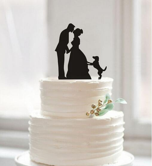 Kissing Bride Groom And Dog In Cake Top Creative Wedding Cake Decorations Wedding Birthday Festival Party Decorations Cake Topper Cheap Best Wedding