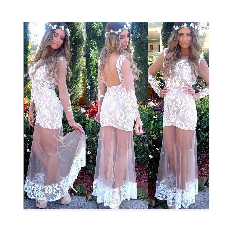 2016 White Lace Appliqued Long Prom Dresses Sheer Straps with Long Sleeves Open Back Lace Edge Party Dresses Pageant Evening Dresses