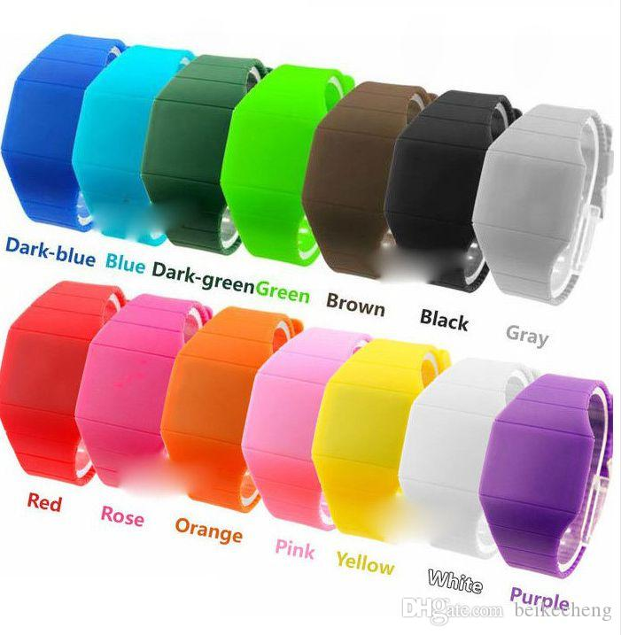 Wholesale 800pcs/lot Mix 14Colors touch led watch Silicone bands rubber fashion sport watches LT009