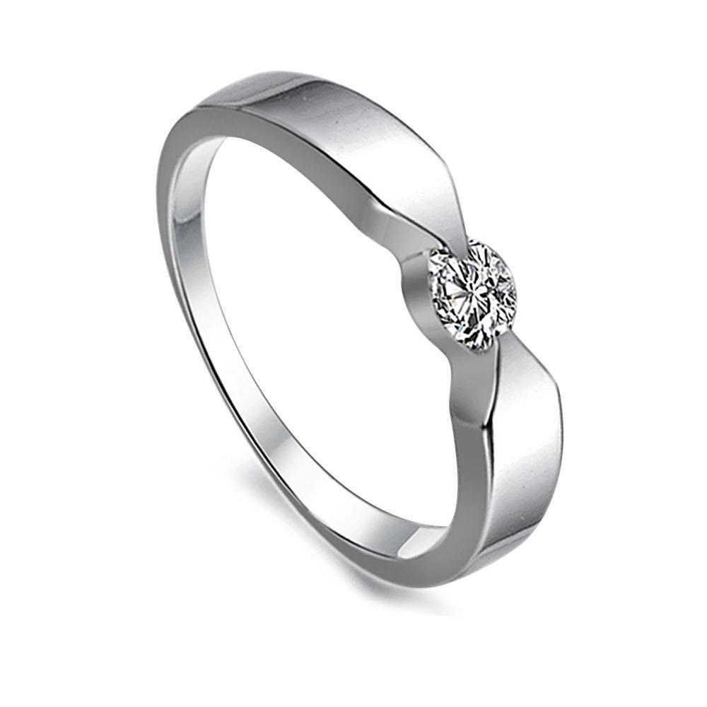Gratis verzending Fijn groothandel - damesharten en pijlen Diamond ring simulatie, platina plating ring