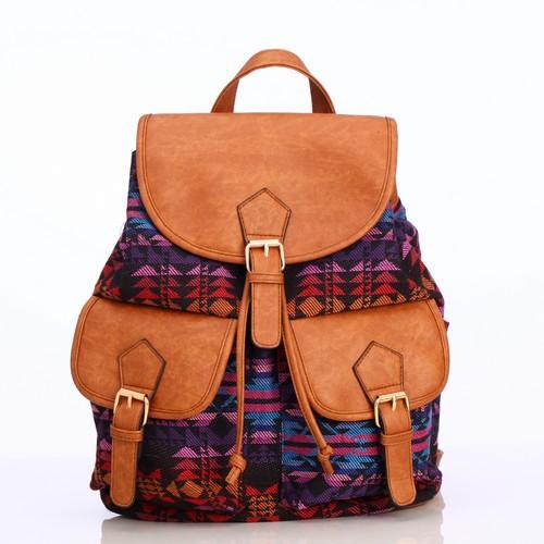 Bohemian Canvas Backpack Three Pockets Girls Pu School Backpack ...