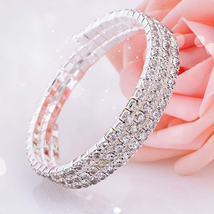 Fashion Crystal Bridal Bracelet Cheap In Stock Rhinestone Free Shipping Wedding Accessories One Piece Silver Factory Sale Bridal Jewelry