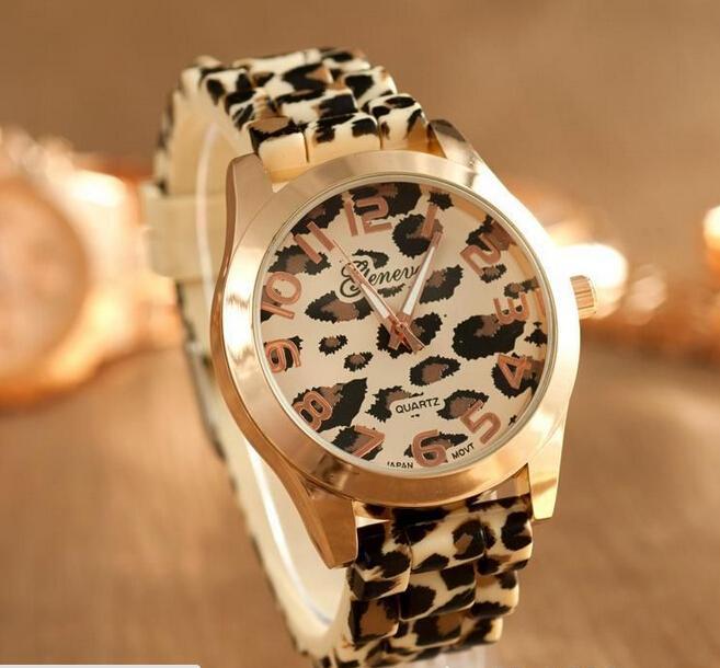 Frete grátis-Unisex Silicone Leopard Print geléia Gel quartz analógico Sports Womens relógio de pulso
