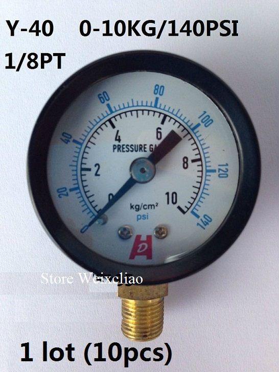 قياس الضغط 0-10 كيلوجرام / 140 psi 1/8PT ل مضخات المياه آلة كهربائية مقياس الضغط المانومتر 1 وحدة (10 قطع) شحن مجاني