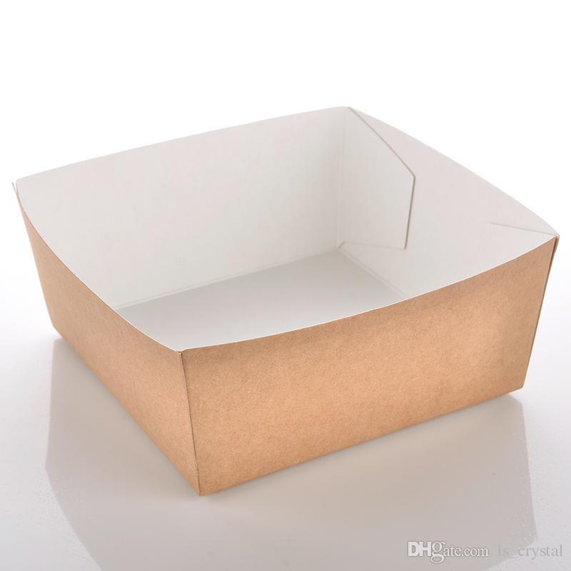 المتاح ورق الكرافت الفرنسية فرايز كوب صديقة للبيئة المقلية الدجاج الفشار الحلوى مربع حزب الغذاء حزمة 100 قطعة / الوحدة SK728