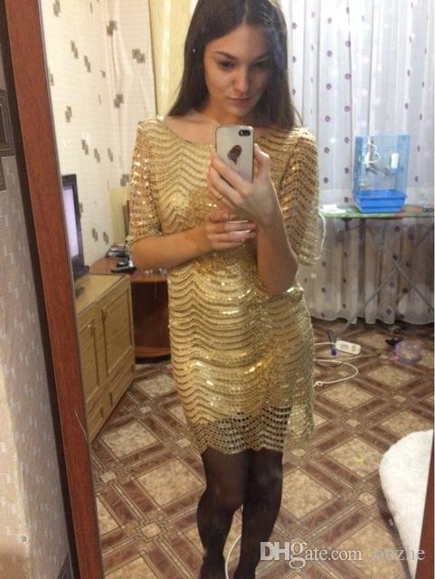 2017 hot spot high-quality autumn and winter Europe and the United States women round neck sequined bag hip long-sleeved fashion dress