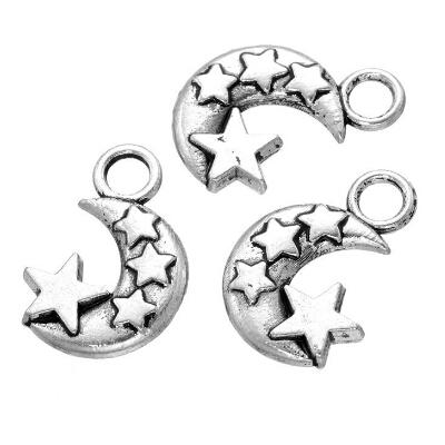 300 Pcs - Tibetan Silver Moon and Star Pendants Necklace Charm Jewellery findings DIY craft free shipping