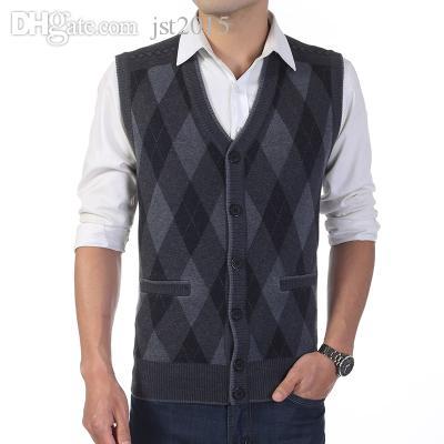 가을 - 가을 남자 니트 스웨터 모직 조끼 남성 격자 무늬 싱글 브레스트 민소매 조끼 캐시미어 비즈니스 캐쥬얼 조끼 W117
