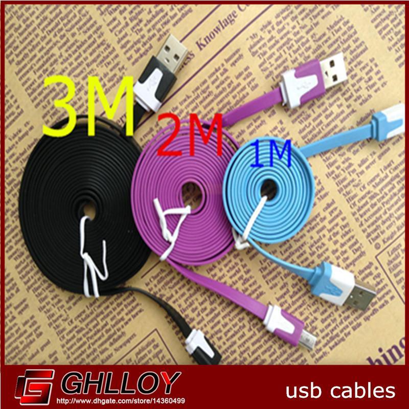 1M 2M 3M Wstążka Micro USB Kabel ładujący do Galaxy S4 S3 Uwaga 2 Sony LG HTC, Linia Ładowarka z synchronizacją Dane Multi Multi