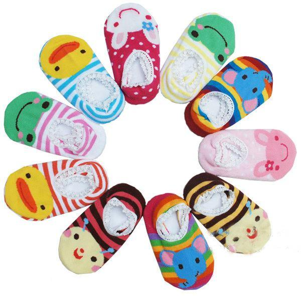 Slippers 2 Pairs Cute Cotton thick socks for babies and children 15 cm Sole Set A Size L